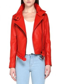 An Edgy Fire-Engine-Red Leather Jacket -- Hania Flame Washed Leather Jacket at Mackage