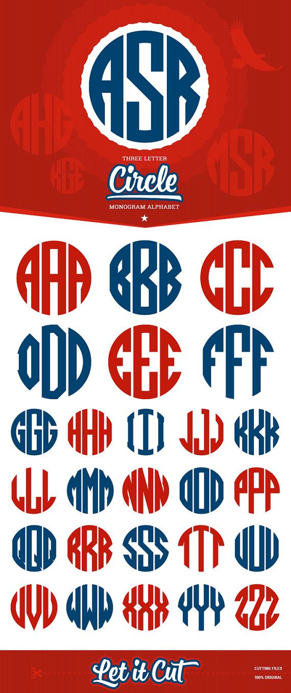 Kreis Monogramm Alphabet, bereit zum Ausschneiden (SVG
