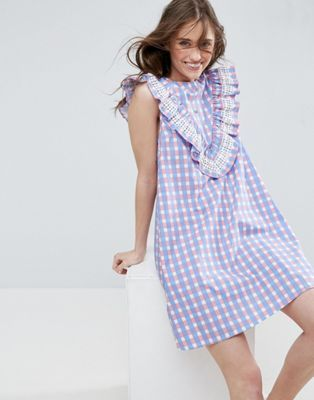 ASOS Sleeveless Ruffle Shift Dress in Gingham Check