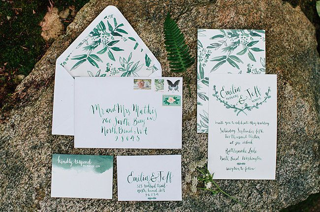 Paper & Calligraphy: Antiquaria    Floral: Botanique   Photo: Jess Hunter feat. on Green Wedding Shoes