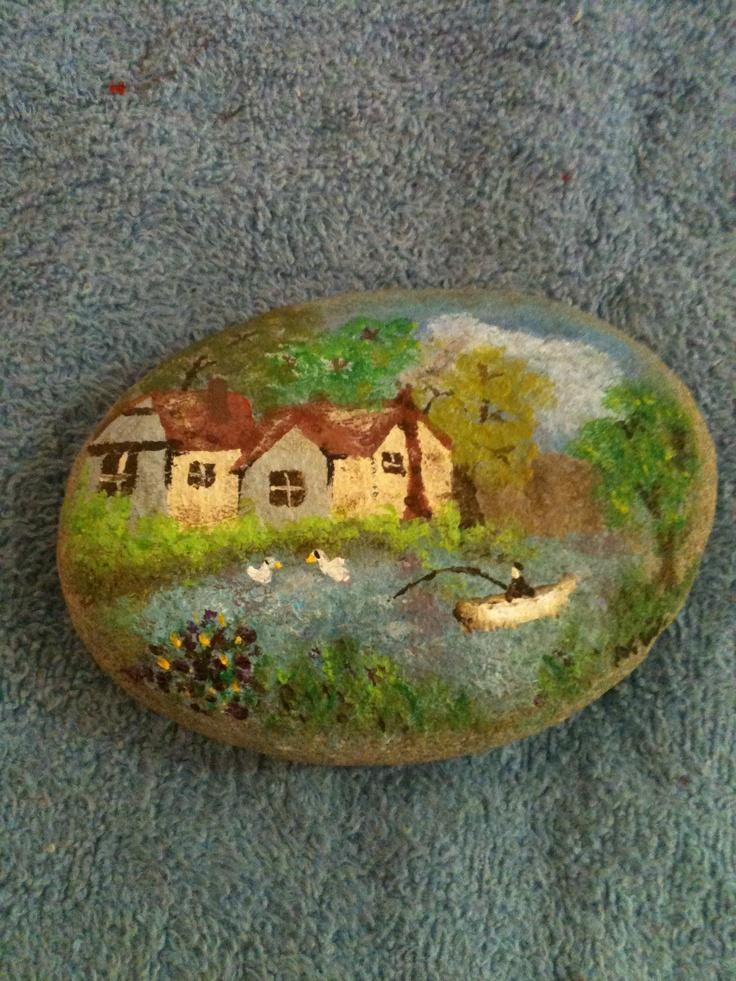 Fishing painted rock