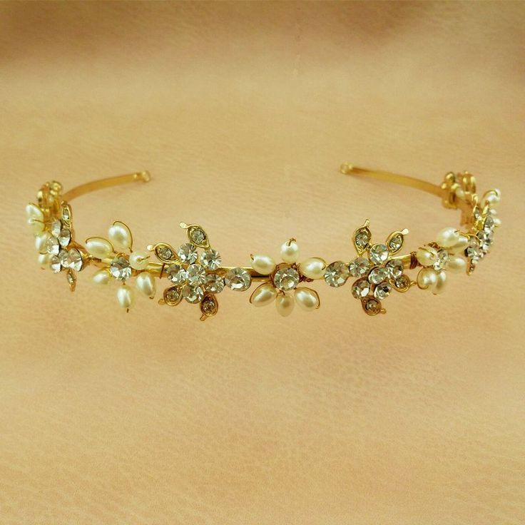 Gold Floral Pearl Bridal Headband Wedding Hair Updo