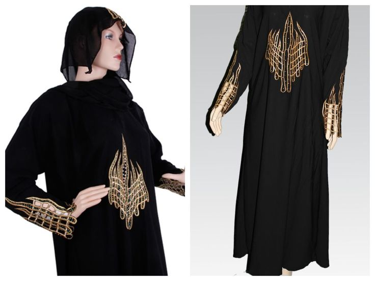 Najhymm ~ BLACK WITH GOLDEN EMB ABAYA/JILBAB MUSLIM DRESS RAMADAN EID #Unbranded #ABAYA #Formal