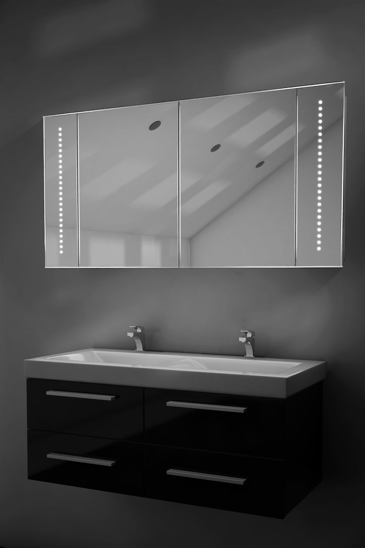 Bathroom mirror cabinets with light and shaver socket - Pali Led Sensor Cabinet