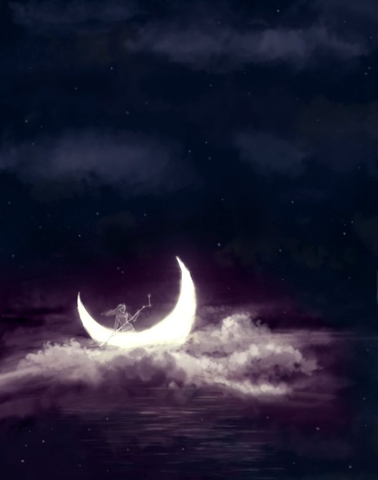 Sailing on the moon <3  This reminds me of Winkin, blinkin & Nod <3