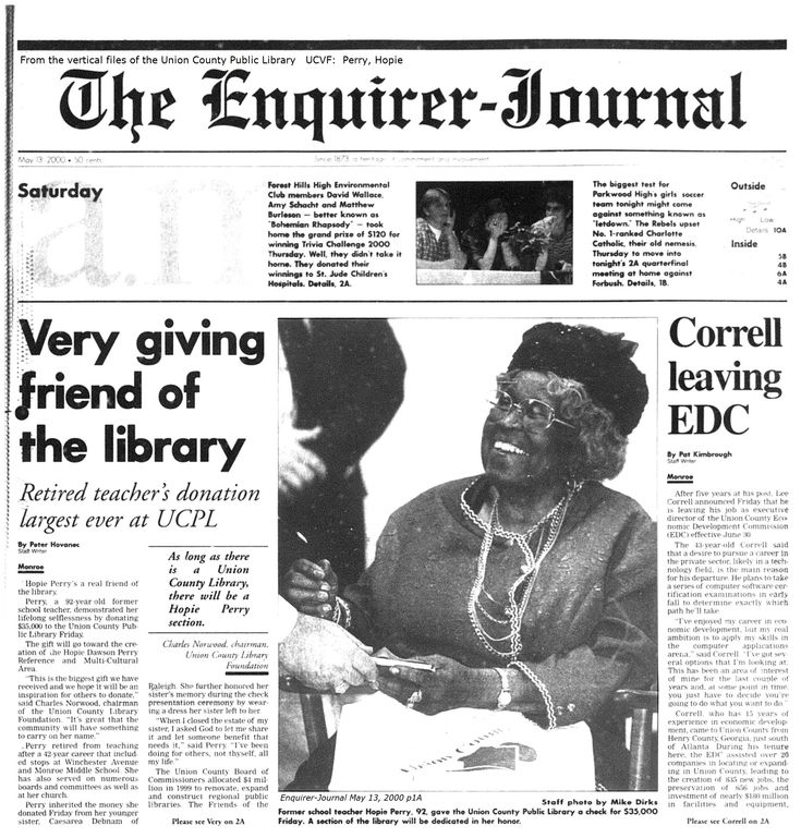 Union County Public Library History from the year 2000 when Hopie Dawson Perry donated the largest gift the library had been given at that time. Part 1 (pg 1) of the May 2000 article from The Enquirer-Journal.  Part 2 will be posted also. -pmp, ucpl  #ucplnc #hopiedawsonperry #libraryhistoryucpl
