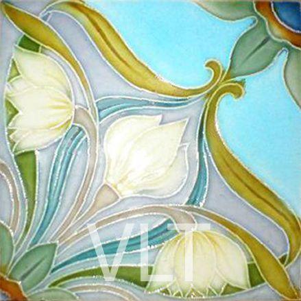 Cerámica con un motivo floral Art Nouveau. (Villa Lagoon Tile | Mosaic Cement Tile)