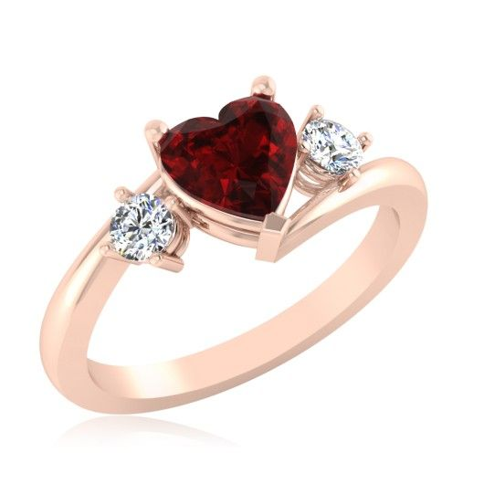 The Amore Heart Diamond & Ruby Ring LR-0022RGR