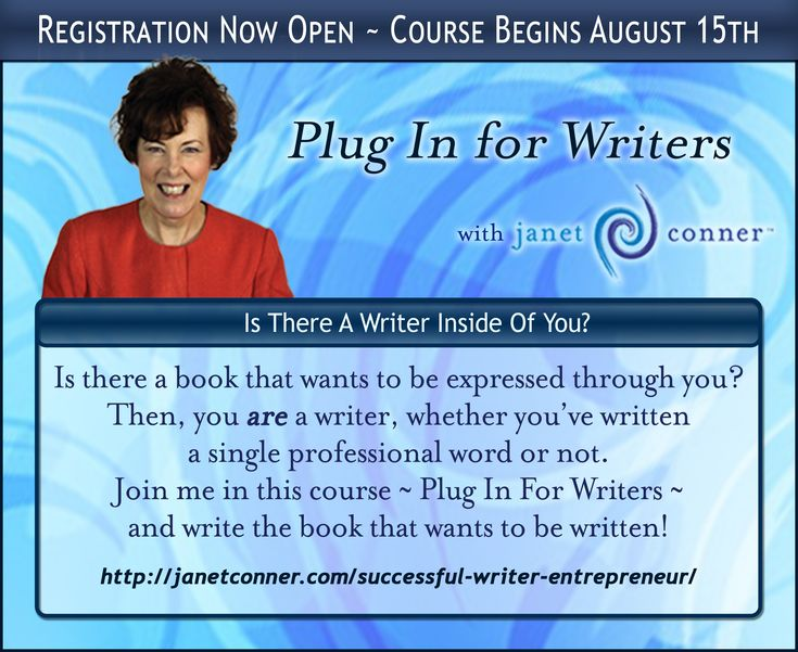 Plug In For Writers is in it's 9th year! With success story after success story, Plug In has proven to be one of the most valuable writers' courses in existence. The 2016 edition features 5 additional work sessions to ensure a thorough knowledge of the tools available to aspiring writers. By the end of the course, you will have practical, accurate knowledge of the new-era publishing industry, and an opportunity to pitch a publisher. Join Janet Conner on this first step of your writing…