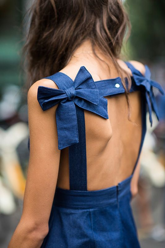Denim bows - the perfect way to enhance casual wear. Emilia loves bows.