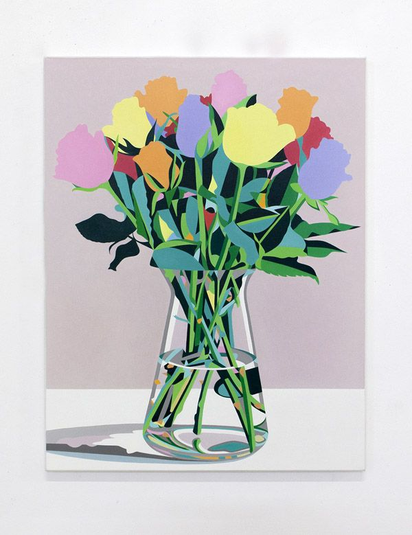 MKidd-Flower painting with beige background, 2012, oil on canvas, 56 x 72cm