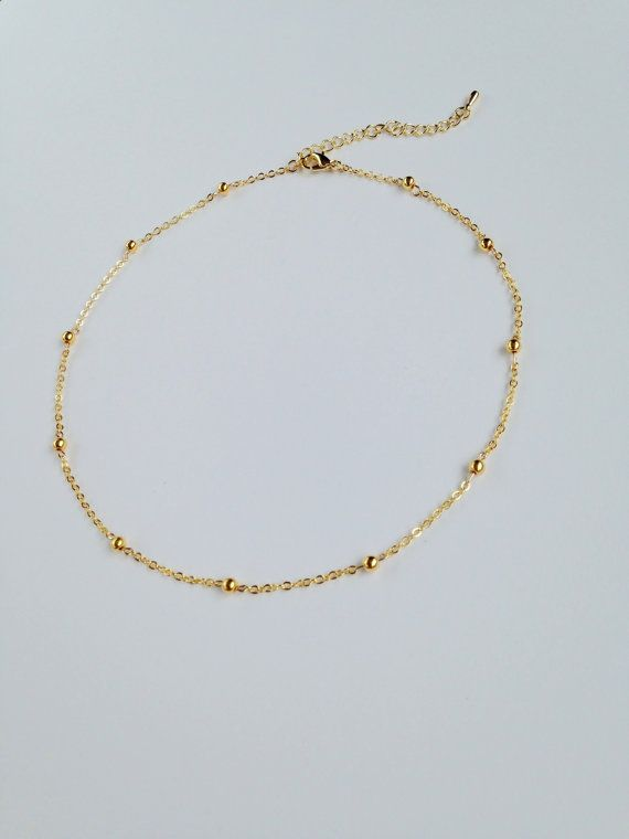 Gold Balls Chain Choker, Gold Ball Choker, Satellite Necklace, Layering Necklace, Dainty Beaded Satellite Chain,Simple Jewelry.