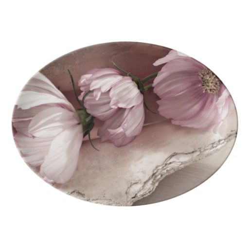 Three Pink Cosmos Porcelain Serving Platter