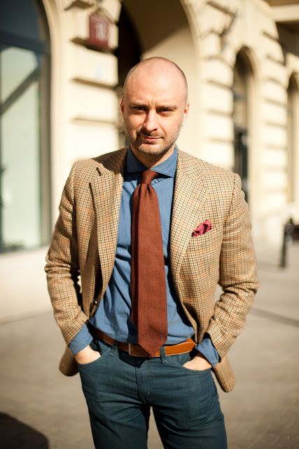 Thinking Wins:  MacaroniTomato making the case for Rust colored ties. In this case, grenadine.Orange, Style, Blue, Colors, Denim Shirts, Jeans, Jackets, Men Fashion, Fashion Blog