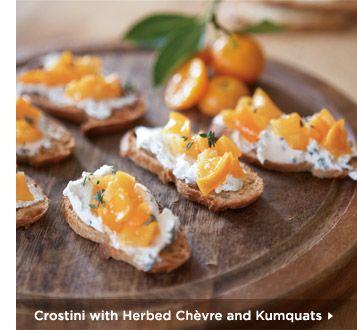 Crostini With Herbed Chevre and Kumquats   Yummy...   Pinterest