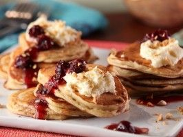 Cinnamon Mascarpone Pancakes with Warm Morello Cherries and Hazelnuts : Recipes : Cooking Channel