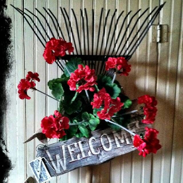 Welcome Sign With Flowers And Rake Cute
