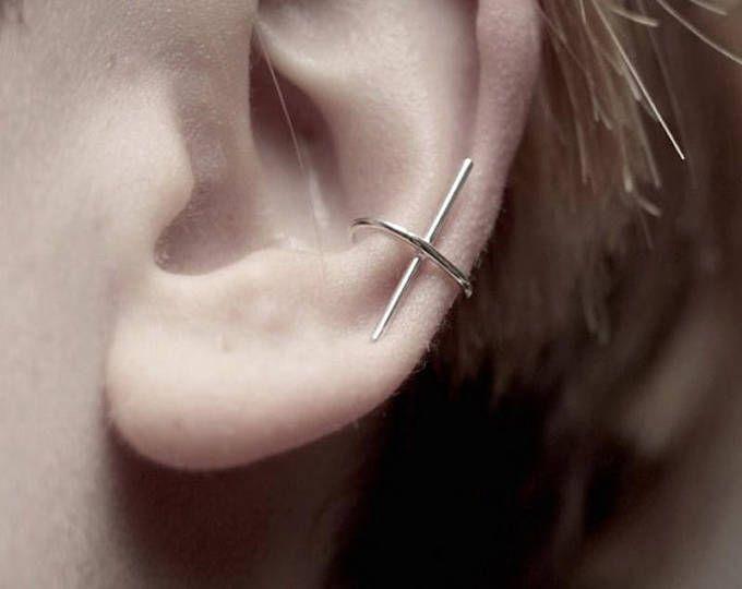 mode cool simplicité conçu bâton de métal cuivre oreille oreille non-piercing oreille manchette boucles d'oreilles brinco de meninas