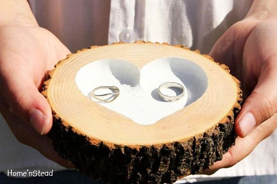 "Rustic Wedding Ring ""Pillow"" Log Ring Dish Engraved Heart in Wedding Ideas"