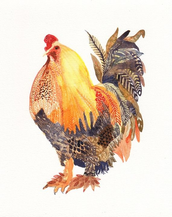 """Chicken With Feathered Feet - Archival Print $20 This is an archival print of my original watercolor painting. My prints are high quality and archival. Printed with pigment based inks that pick up all the subtleties and richness of the original. Epson pigment based inks are proven to not fade, smudge, or yellow for 200 years! Each print is signed on the front. Printed on Hahnemule paper; heavy weight, archival and acid free. 8"""" X 10"""""""