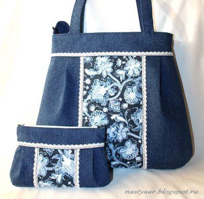 Рукодельное мое.: Джинсовая сумка и косметичка.