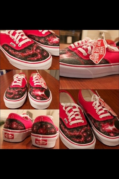 shoes, vans, galaxy, red | Wheretoget.it