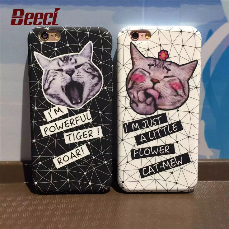 Beeci For iPhone 7 Case Matte Hard PC Back Cover Shell For Apple iPhone7 6 6s 7 Plus Cute Black Cat Design Coque  WQ08