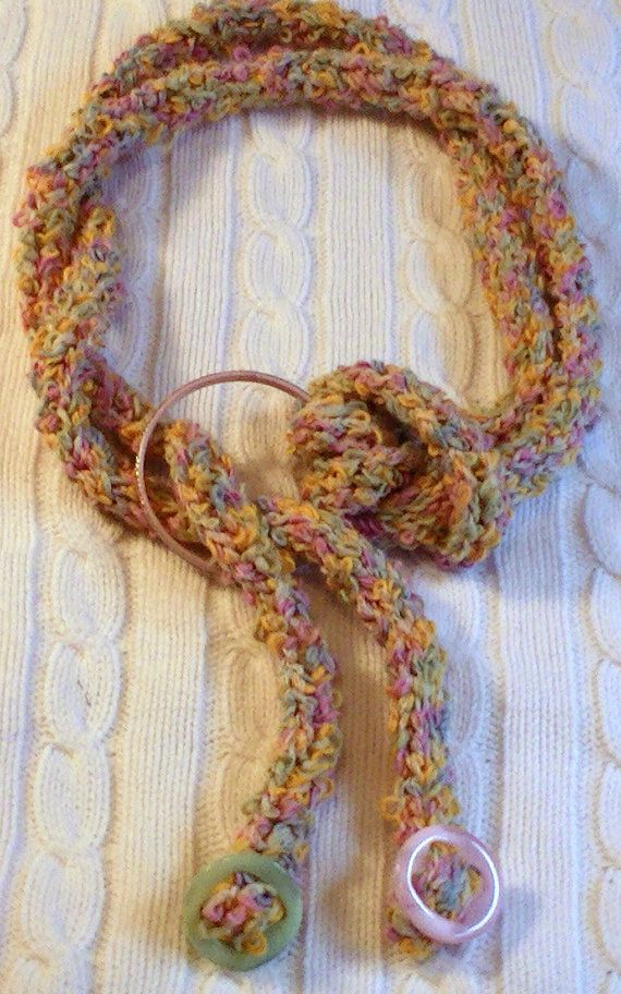 Boho/Hipster Knit Lariat Style Scarf/Necklace in Multi-Color