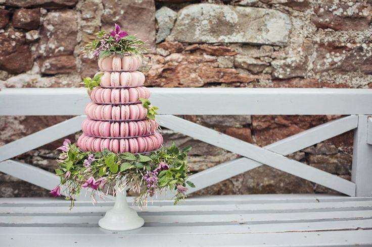 Macaron Tower Cake Pink Ombre Eccentric Flower Fairy Rustic Woodland Glitter Pink Dip Die Fairy Lights Wedding Ideas Editorial Bridal http://www.tireedawson.co.uk/