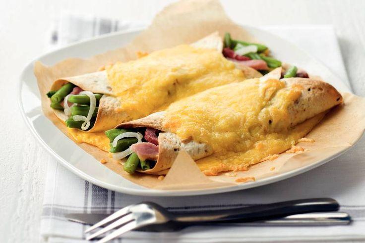 Wraps met sperziebonen, ham en kaas - Recept - Allerhande