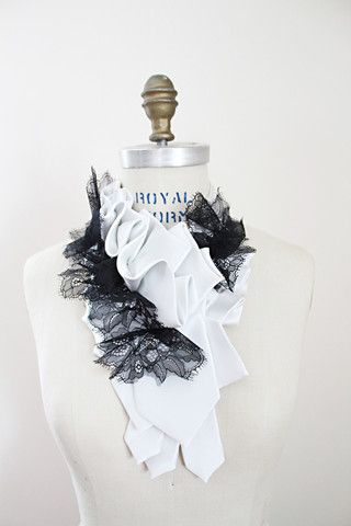 Lilian Asterfield Signature Ruffle Necktie Lapel in Noir Ivory Satin Neckties - Chantilly Lace Accent - Lilian Asterfield