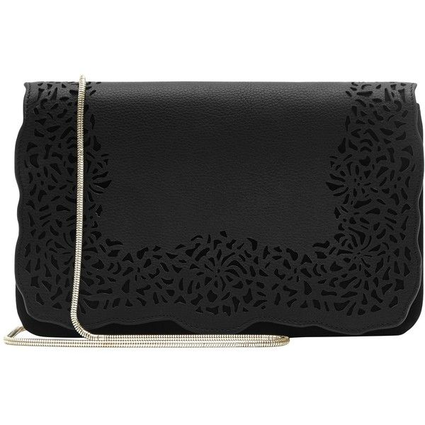 Reiss Peony Small Laser Cut Shoulder Bag, Black (10.390 RUB) ❤ liked on Polyvore featuring bags, handbags, shoulder bags, cross-body handbag, purse crossbody, man bag, leather crossbody purses and crossbody purses