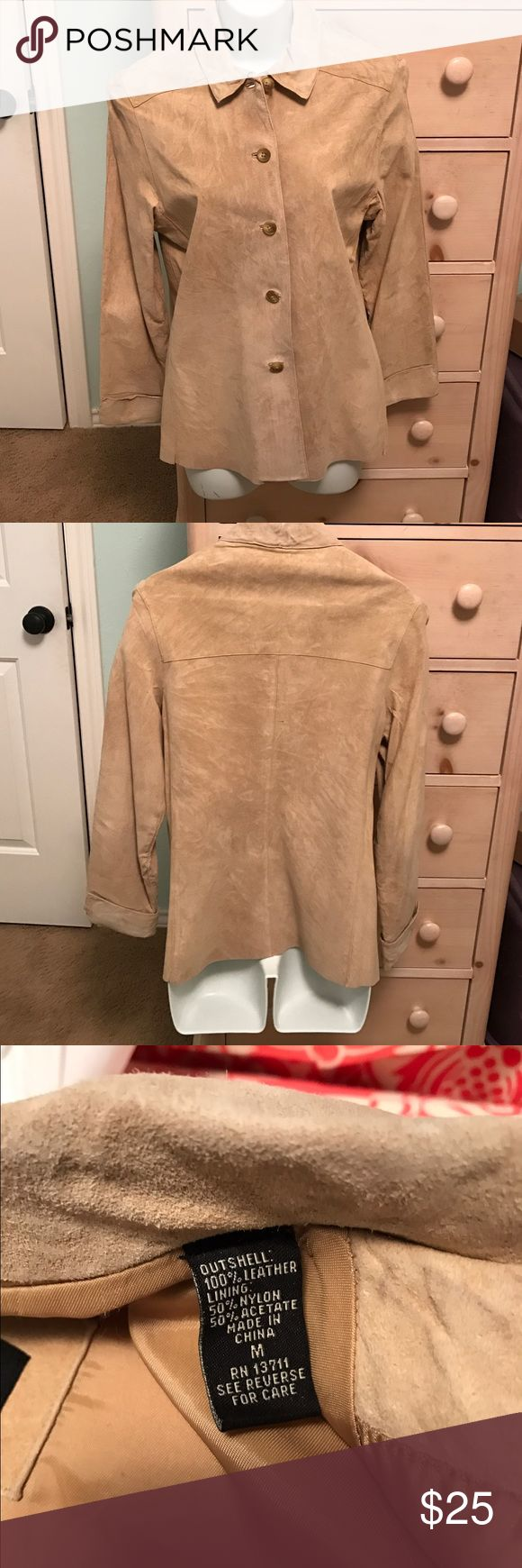 Tan Leather Jacket Only worn a few times- has been dry cleaned & has a spot as shown in pic Valerie Stevens Jackets & Coats Blazers