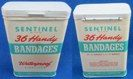 Sentinel 36 handy Bandages; Dist. by Forest City Products, Inc. Cleveland, Ohio. No zip code. Has contents. Back says: No. X-24. Made in U.S.A. Made Under License Under Patent No. 2029260. Sides only have colored bands and no words or info.