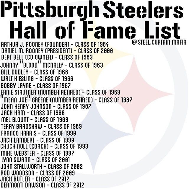 Pittsburgh Steelers Hall of Fame List                                                                                                                                                      More