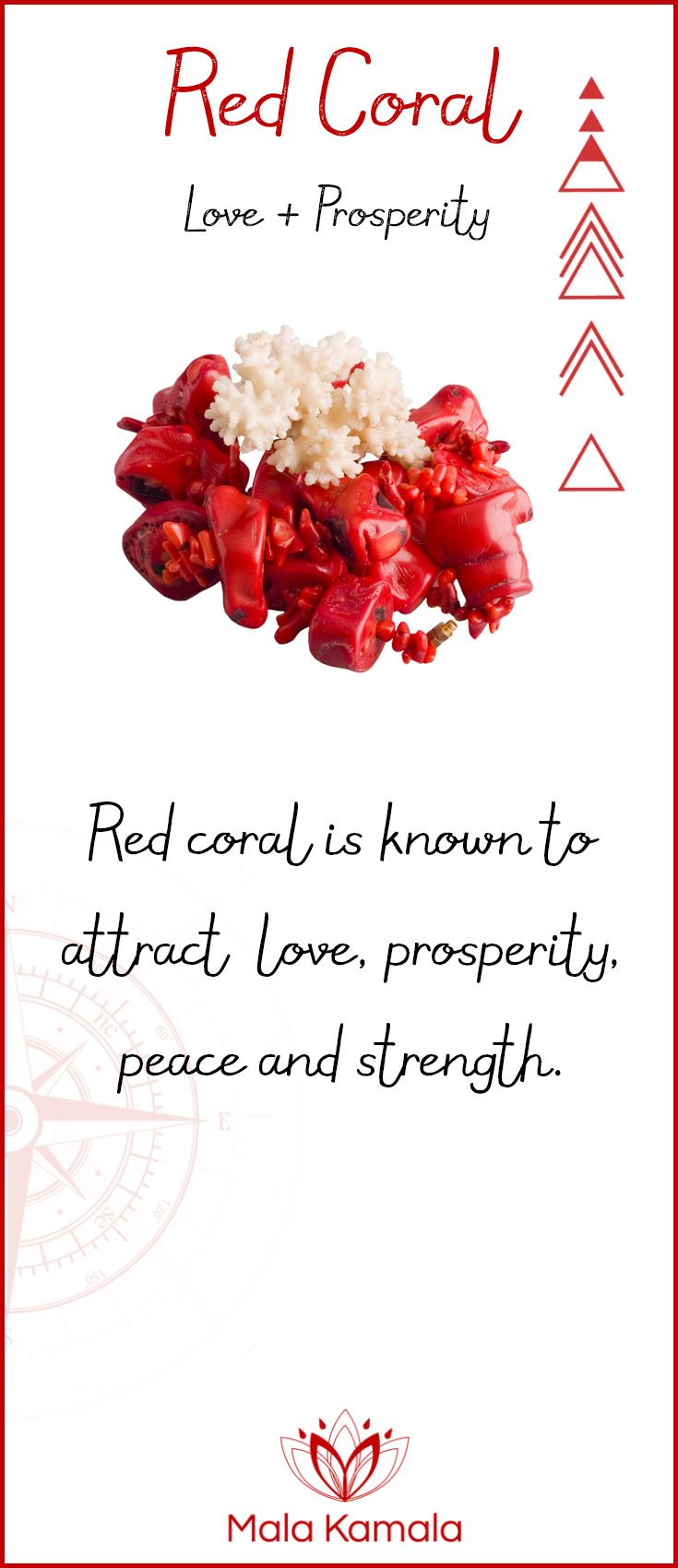 Pin To Save, Tap To Shop The Gem. What is the meaning and crystal and chakra healing properties of red coral? A stone for love and prosperity. Mala Kamala Mala Beads - Malas, Mala Beads, Mala Bracelets, Tiny Intentions, Baby Necklaces, Yoga Jewelry, Meditation Jewelry, Baltic Amber Necklaces, Gemstone Jewelry, Chakra Healing and Crystal Healing Jewelry, Mala Necklaces, Prayer Beads, Sacred Jewelry, Bohemian Boho Jewelry, Childrens and Babies Jewelry.