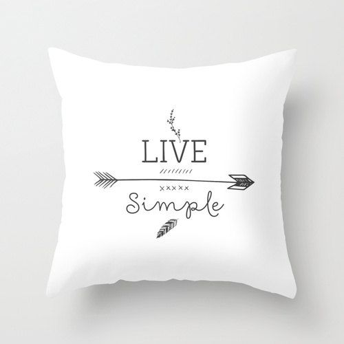 Live simple Decorative throw pillows black and white pillow cover home decor ornament decoration housewares hipster arrows typographic