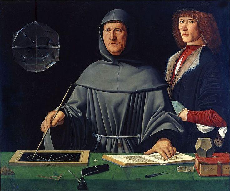 """""""Retrato de Fra Luca Pacioli e seu Aluno"""".  (1495). (by Jacopo de' Barbari)."""