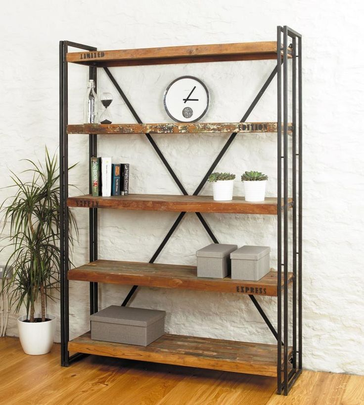 Shoreditch Collection Large Open Bookcase. Reclaimed wood and industrial design from The Orchard.