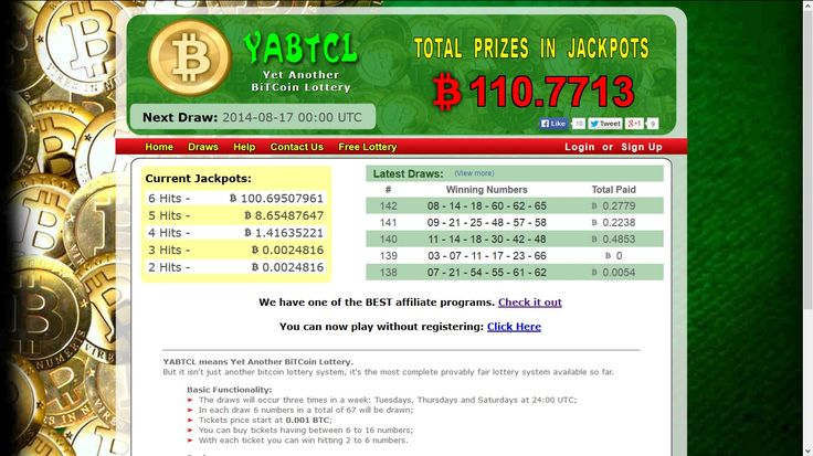 YABTCL.com - The most complete provably fair Bitcoin lottery with the greatest jackpots