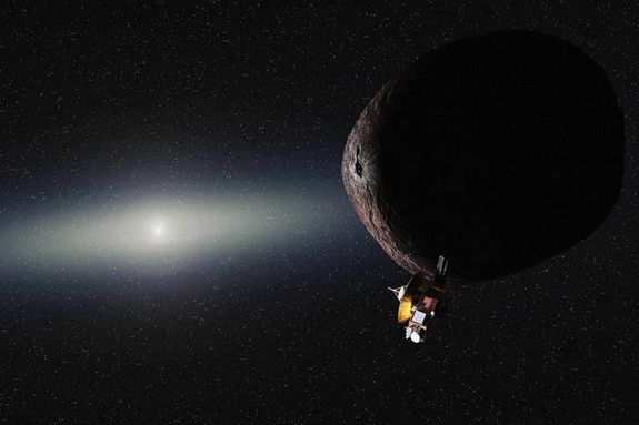 Artist's impression of NASA's New Horizons spacecraft encountering a Pluto-like object in the distan... - NASA/JHUAPL/SwRI/Alex Parker