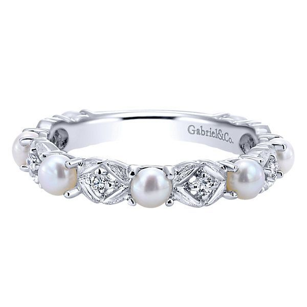14k White Gold Diamond Pearl Stackable Ladies' Ring perfect wedding band