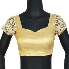 Gold blouse with embroidered sleeves. Readymade Designer Saree Blouses For Parties & Function- Choose From ( Sizes - 34, 36, 38, 40, 42 ): Rini Collection  YF-28769