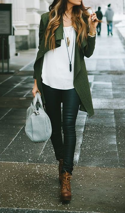 Casual chic fall look - white shirt, skinny jeans, olive long asymmetrical cardigan, brown short boots.