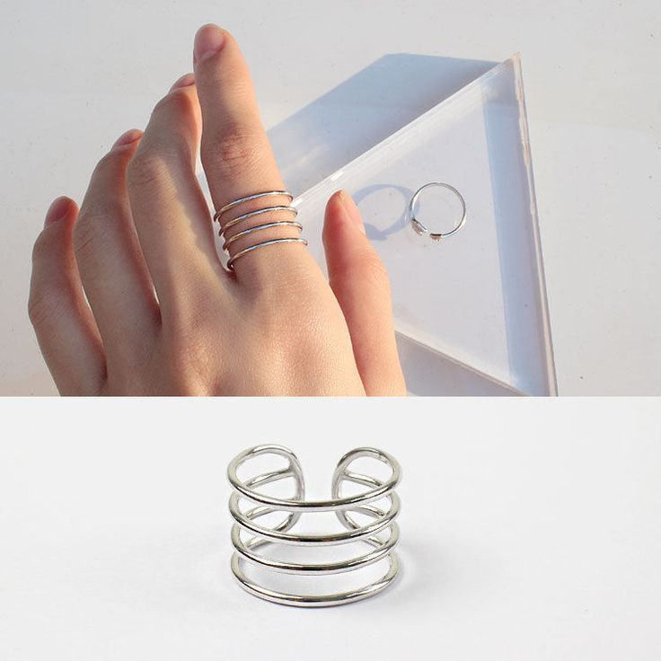 925 Silver Four Lines Simple Vintage Ring Women Fashion Jewelry Open Adjustable