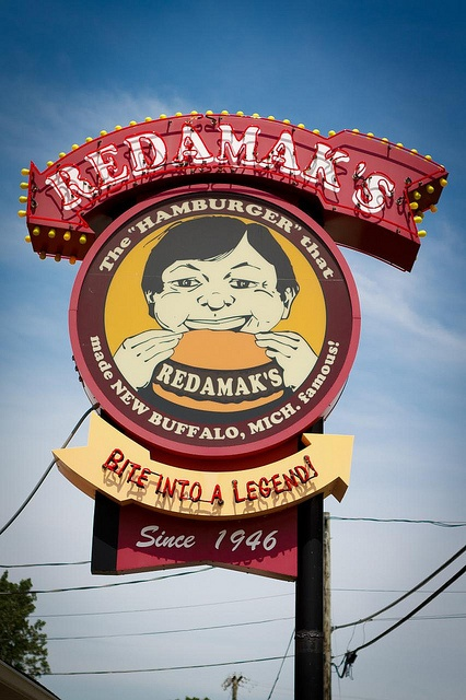redamak's: new buffalo, mi. located in between antique shops and lake michigan, the burgers are more than fantastic.