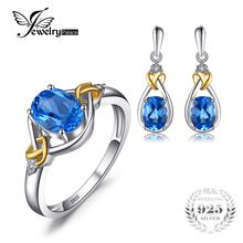 Jewelrypalace Love Knot 18K Gold Aside Natural Blue Topaz Diamond 925 Sterling Silver Jewelry Set  Fine Jewelry  Earring Ring //FREE Shipping Worldwide //