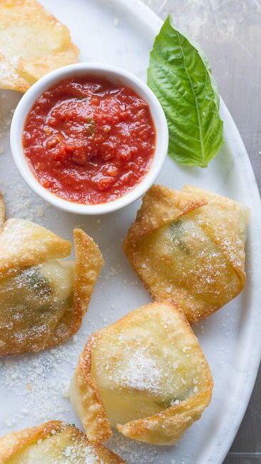 Simple Fresh Mozzarella & Basil Bites..made w/ wonton wraps..so easy and delish ✿⊱╮