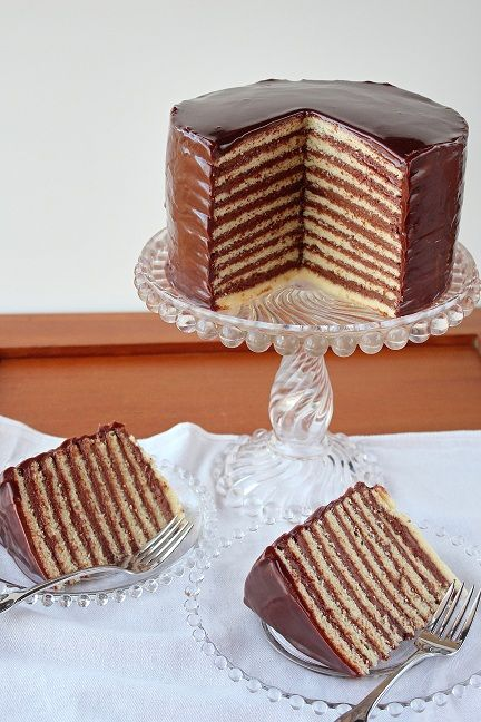 A thin layer chocolate cake ... my grandmother used to make these all the time.