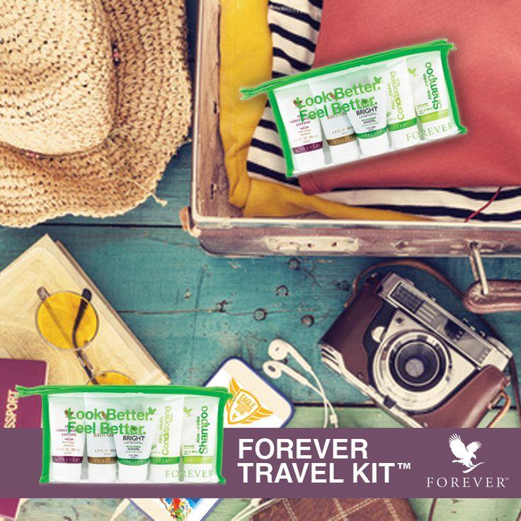 FOREVER TRAVEL KIT #1 : LE DÉPART Forever Travel Kit, emportez vos produits Forever partout avec vous ! Disponible dans la Boutique en ligne de votre Espace FBO, Réf.524 #ForeverAloeVera #ForeverLivingProducts #AloeVera #DiscoverForever